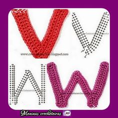 Meninas Crocheteiras: Gráficos letras em croche
