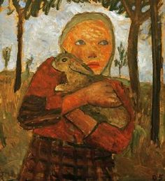 Paula Modersohn-Becker, (1876 - 1907) pintora precusora del expresionismo en Alemania.  Girl with rabbit