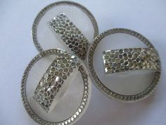 Large vintage Art Deco glass buttons. Sparkling silver. noelhumphrey on eBay.
