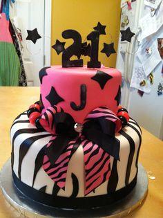 21st birthday zebra stripe cake