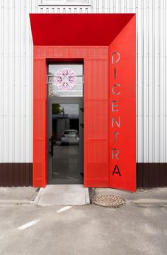 Rina Lovko Studio creates austere interiors for Kiev's Dicentra flower shop - Modern Entrance Design, Facade Design, Signage Design, Mobile Shelving, Flower Company, Reception Areas, Concrete Jungle, Retail Space, Minimalist Interior