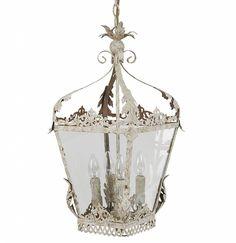 Rustieke brocante landelijke aparte Hanglampen van metaal  in zilver oud-grijs en antiek gebroken wit.   29,5 x 29,5 x 58cm.