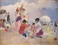 """A Hot Day at the Beach,"" Martha Walter, ca. 1915, oil on board, 14 x 18"", Ashley John Gallery."
