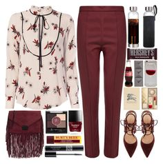 """""""Burgundy sryle"""" by martinabb ❤ liked on Polyvore featuring A.L.C., Wood Wood, Loeffler Randall, Gianvito Rossi, Burberry, Hershey's, Rimmel, Umbra and Christian Dior"""