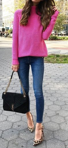 #fall #outfits · Pink Sweater // Skinny Jeans // Shoulder Bag // Leopard Pumps #fashion-fall&winter