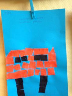 Brievenbus plakken van vierkantjes - mozaïek figuur. Groep 2, thema post