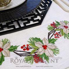 Christmas Machine Embroidery Design Poinsettia