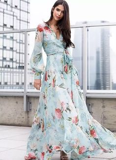 Meet the flowing silhouette of our Giselle Blue Floral Maxi Dress. Details include attached belt, a wrap bodice, buttons on cuff, snap closure on neckline, and hidden back zipper. Maxi Wrap Dress, Floral Maxi Dress, Boho Dress, Floral Print Dresses, Floral Frocks, Floral Prints, Sheath Dress, Elegant Dresses, Beautiful Dresses