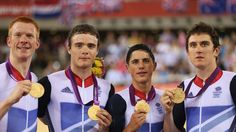(L-R) Edward Clancy, Steven Burke, Peter Kennaugh and Geraint Thomas of Great Britain celebrate with their gold medals during the medal ceremony for the men's Team Pursuit Track Cycling final on Day 7 of the London 2012 Olympic Games at the Velodrome