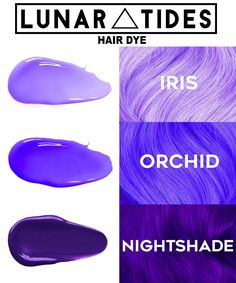 Pastel Iris, bright violet Orchid, and deep purple Nightshade vegan and cruelty-free. Available worldwide at www. - Pastel Iris, bright violet Orchid, and deep purple Nightshade vegan and cruelty-free. Available worldwide at www. Bright Purple Hair, Dyed Hair Purple, Hair Color Purple, Hair Dye Colors, Dye My Hair, Cool Hair Color, Deep Purple Hair, Pastel Hair Dye, Violet Hair Colors