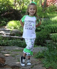 Another great find on #zulily! White 'Pineapple' Tee & Capri Pants- Infant, Kids & Tween #zulilyfinds