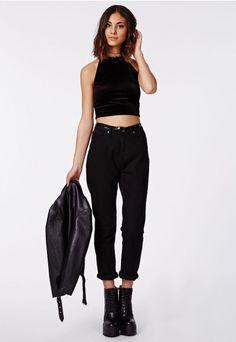 Claudia Velvet High Neck Crop Top Black - Tops - Crop Tops - Missguided