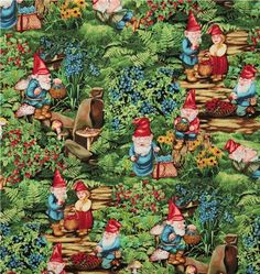 Michael Miller fabric Very Berry Gnomes
