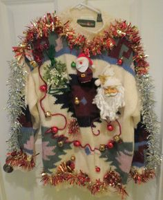 Santas Gone Wild Red Glittery Red and Gold Garland Fun Light up Tacky Ugly Christmas Sweater Sz L