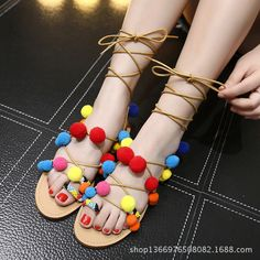 New Summer Street Beat Bohemia Sweet Style Color  Fashion Casual Sandals Straps Hair Women Sandals Flat Shoes