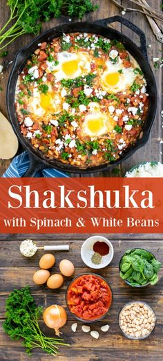Recipes Breakfast Vegetarian This easy recipe for Shakshuka with Spinach & White Beans is perfect for breakfast, lunch, or dinner. Ready in under 20 minutes this is a low-calorie option that is hearty enough to feed and satisfy a family. Low Calorie Vegetarian Recipes, Healthy Low Calorie Meals, No Calorie Foods, Vegetarian Recipes Dinner, Lunch Recipes, Dinner Recipes, Cooking Recipes, Healthy Recipes, Vegetarian Appetizers