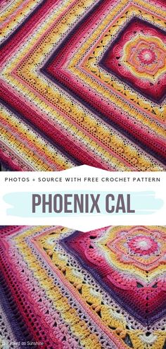 Phoenix CAL Free Crochet Pattern See other ideas and pictures from the category menu…. Faneks healthy and active life ideas Crochet Afghans, Crochet Quilt Pattern, Crochet Baby Poncho, Crochet Squares Afghan, Granny Square Crochet Pattern, Crochet Yarn, Crochet Stitches, Mandala Crochet, Ripple Afghan