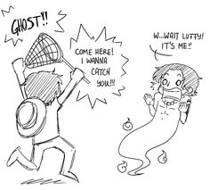 I absolutely love this haha Ace as a ghost and Luffy will never change ! #onepiece