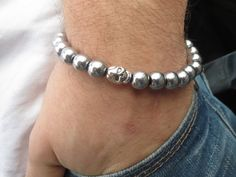 Silver Hematite Bracelet  Men Hematite by BohemianChicbead on Etsy