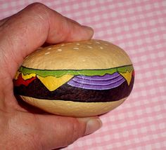 Cheeseburger Deluxe, hamburger, summer, barbeque, family reunion, faux food, paperweight, painted rocks by RockArtiste, $25.00