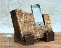 Natural wood iPhone station.