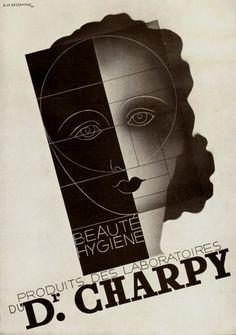 A. M. Cassandre 1930. Beauté Hygiène, produit des Laboratoires du Dr Charpy. Extraordinary !