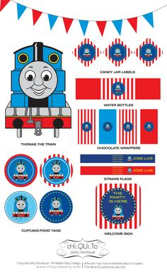 Printable Thoma's The Train Birthday Party PDF by ChiquitaPB  THE CUPCAKE CIRCLES COULD WORK FOR THE KOOLAIDE DRINKS TOO IF YOU WANTED TO MAKE THOSE