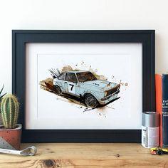 Ford Mk 2 Escort Rally Car Illustration