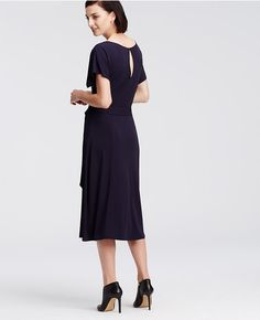 Ann Taylor's Belted Jersey Midi Dress with keyhole back detailing.