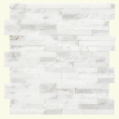 Jeffrey Court Churchill White Split Face 11.75 in. x 12.5 in. x 8 mm Marble Mosaic Wall Tile (5.5 lb. / Each)-99615 - The Home Depot