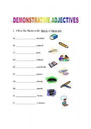 demonstrative adjectives worksheets. Black Bedroom Furniture Sets. Home Design Ideas
