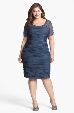 Adrianna Papell Beaded Illusion Ruched Dress (Plus Size) | Nordstrom