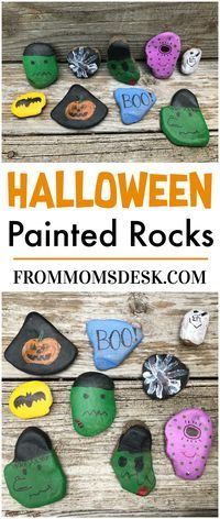 Halloween Painted Rocks - Lots of fun ideas for creating your own painted rocks for Halloween! My boys had a BLAST creating these to hide around town. Cute Halloween Food, Halloween Books, Halloween Projects, Easy Halloween, Halloween Decorations, Halloween Party, Haunted Halloween, Halloween 2017, Diy Projects