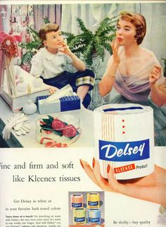 Delsey Toilet Paper Ad - a Kleenex Product (1954)