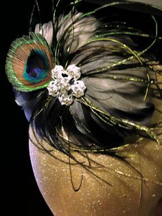Hey, I found this really awesome Etsy listing at https://www.etsy.com/listing/199490476/greygray-and-peacock-feather-pad hair clip wedding