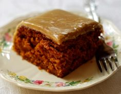 Vintage Tomato Soup Spice Cake Topped with a Boiled Caramel Icing