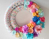 Summer Double Wrapped Fabric Yarn Wreath Confetti Birthday multi- color with flower fabric and felt embellishments