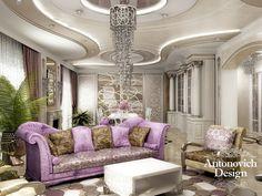Эстетику и мягкость интерьера этой гостиной дополняет невероятно красивый потолок.