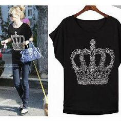 Celebrity Style Stealer Rhinestone Crown Shirt **Free Shipping + S tyle Points**