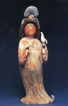 Tang Dynasty Painted pottery figure of a court lady<br>Source: Chinese ceramics and works of art, Sotheby