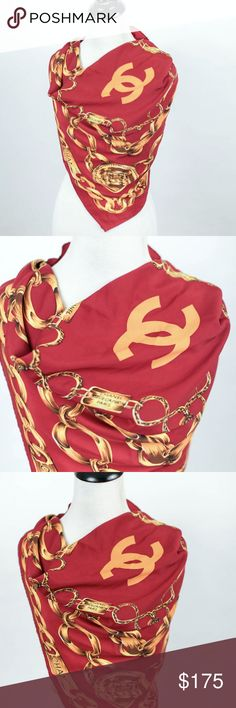 Chanel coco red chain scarf 100% silk VINTAGE real Chanel gold chains scarf. This is 100% authentic and 100% silk. I have many pictures here so you can see that it is real. It is in PERFECT condition. Will consider reasonable offers. It is 34x34 inches. CHANEL Accessories Scarves & Wraps