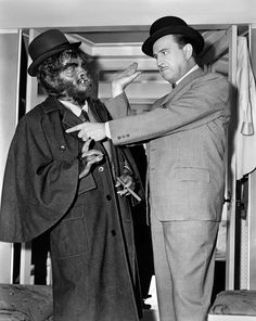 A rare behind the scenes shot of comic legends Bud Abbott and Lou Costello (wearing mask) during filming of the 1953 comedy classic, ABBOTT AND COSTELLO MEET DR. JEKYLL AND MR. HYDE! Photo courtesy of Terry Soto