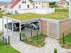 Double carport: The cheap garage alternative - Hof&Garten - Garage, Shed Homes, Outdoor Decor, Pergola Designs, House, Double Carport, Garage Decor, Green Roof, House Front