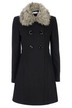 Black Fur Collar Swing Coat, I have a similar vintage coat in camel with fox fur.