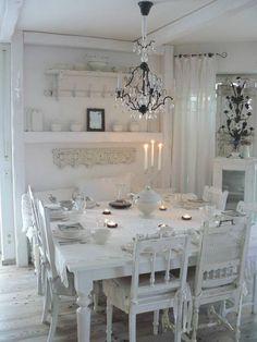 White romantic, shabby chic dining room.
