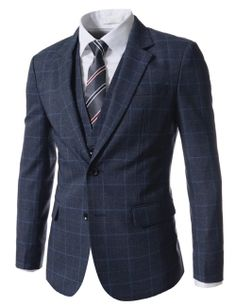 Slim Fit Checker 2 Button Blazer