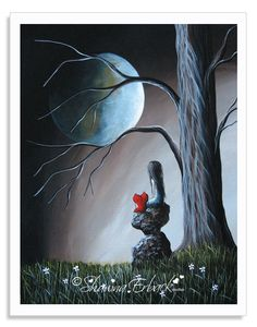 Remember When - This is a painting of my little girl character with her sweet heart pet. They are looking off into the distance while a beautiful full moon bathes them in warm light. The painting is sold but I have archival signed prints of this piece in an 8x10 inch size. Please feel free to use your code DREAMER to save an extra 15% upon checkout if you would like this piece in your home or office.