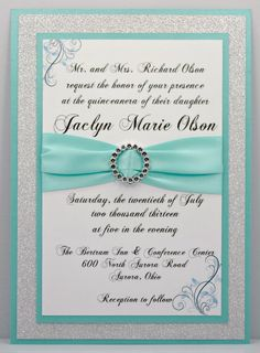 2ae328fe67a Aqua Quinceanera Sweet 16 Invitation Full of Bling