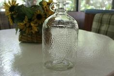 Vintage Clear Jug One Handle Embossed Grapes Leaves Half-Gallon Antique Glass Bottles, Emboss, Vintage Shops, Handle, Leaves, Antiques, Ebay, Vintage Stores, Antiquities