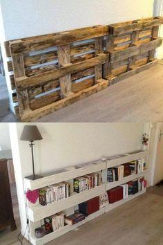 DIY Pallet Bookshelves…these are the BEST Pallet (Diy Storage Pallets) – Pallette Projects Diy Pallet Furniture, Diy Furniture Projects, Diy Pallet Projects, Furniture Makeover, Home Furniture, Pallet Ideas, Pallet Wood, Bedroom Furniture, Wood Ideas